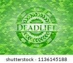 deadlift realistic green emblem.... | Shutterstock .eps vector #1136145188