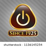 shiny emblem with power icon... | Shutterstock .eps vector #1136145254
