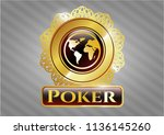gold emblem or badge with... | Shutterstock .eps vector #1136145260