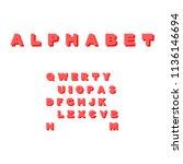simple vector font. alphabet in ... | Shutterstock .eps vector #1136146694