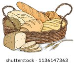 fresh bakery products in a... | Shutterstock .eps vector #1136147363