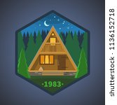 tiny cabin in the forest.... | Shutterstock .eps vector #1136152718