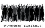 silhouettes of people in full... | Shutterstock .eps vector #1136153678