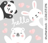 panda rabbit and teddy bear... | Shutterstock .eps vector #1136155196