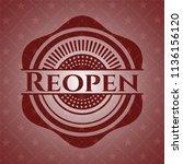 reopen red emblem. retro | Shutterstock .eps vector #1136156120