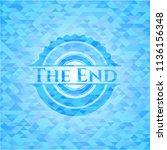 the end light blue emblem.... | Shutterstock .eps vector #1136156348