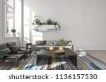 white modern room with wall... | Shutterstock . vector #1136157530