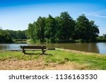 grass field and wooden bench in ... | Shutterstock . vector #1136163530