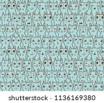 pattern with cats' heads | Shutterstock .eps vector #1136169380
