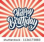 happy birthday lettering banner.... | Shutterstock .eps vector #1136173883