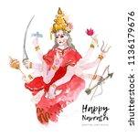 navratri watercolor greeting... | Shutterstock . vector #1136179676