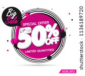 big sale banner design template ... | Shutterstock .eps vector #1136189720
