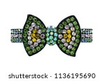 brooch bow with gems isolated...   Shutterstock . vector #1136195690