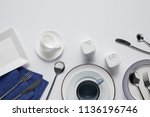 top view of various ceramic... | Shutterstock . vector #1136196746
