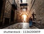woman tourist sightseeing in... | Shutterstock . vector #1136200859