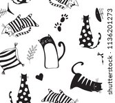 seamless pattern with cute... | Shutterstock .eps vector #1136201273