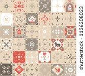 vector seamless vintage pattern ... | Shutterstock .eps vector #1136208023