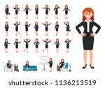 businesswoman in black suit... | Shutterstock . vector #1136213519