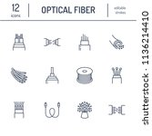optical fiber flat line icons.... | Shutterstock .eps vector #1136214410