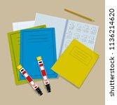 severe allergy at school ... | Shutterstock .eps vector #1136214620