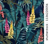 tropic summer painting seamless ... | Shutterstock .eps vector #1136220056