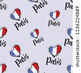 pattern with paris sign and... | Shutterstock .eps vector #1136224889