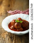 meatballs with tomato sauce and ... | Shutterstock . vector #1136232749