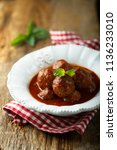 meatballs with tomato sauce and ... | Shutterstock . vector #1136233010