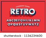 3 dimensional 3d retro... | Shutterstock .eps vector #1136234600
