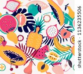 fresh fruit tropical seamless... | Shutterstock .eps vector #1136235506