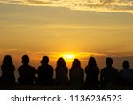 silhouette of group of people... | Shutterstock . vector #1136236523