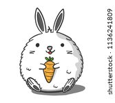 fat rabbits are carrying carrot.... | Shutterstock .eps vector #1136241809
