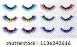 lashes set. false eyelashes...   Shutterstock .eps vector #1136242616