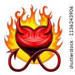 burning heart with horns and... | Shutterstock .eps vector #1136243906
