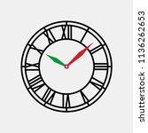 vintage round clock roman face... | Shutterstock .eps vector #1136262653