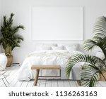 mock up poster frame in bedroom ... | Shutterstock . vector #1136263163