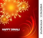 beautiful happy diwali... | Shutterstock .eps vector #113626864