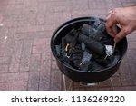 an open brazier for cooking... | Shutterstock . vector #1136269220