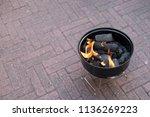 an open brazier for cooking... | Shutterstock . vector #1136269223