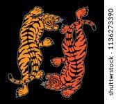 traditional tiger tattoo design ... | Shutterstock .eps vector #1136273390