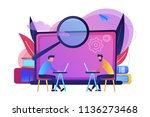 students with laptops are... | Shutterstock .eps vector #1136273468