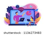 student with laptop and lector... | Shutterstock .eps vector #1136273483
