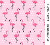 seamless pattern of pink... | Shutterstock .eps vector #1136278346