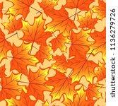 autumn maple leaves seamless... | Shutterstock .eps vector #1136279726