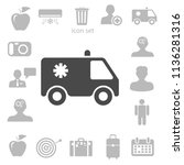 flat  icon of ambulance vector... | Shutterstock .eps vector #1136281316