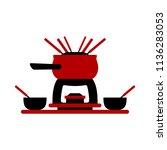 melting fondue pot set with... | Shutterstock .eps vector #1136283053