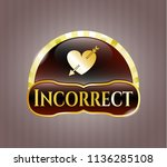 golden badge with heart with... | Shutterstock .eps vector #1136285108