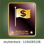 golden badge with flag with... | Shutterstock .eps vector #1136285138