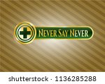gold badge or emblem with... | Shutterstock .eps vector #1136285288