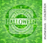 halloween green emblem. mosaic... | Shutterstock .eps vector #1136285324